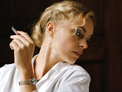 Nina Hoss smoking a cigarette (or weed)